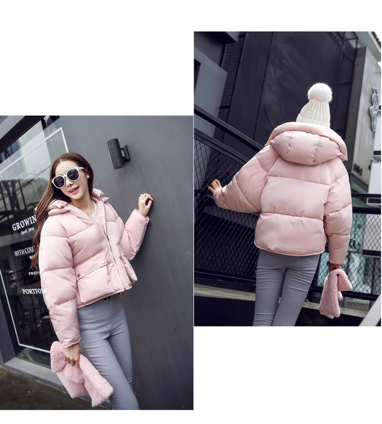 New Arrival Winter Solid Long Sleeves Short Length Cotton-padded Coat for Women Thick Zipper Hooded Cotton Coat