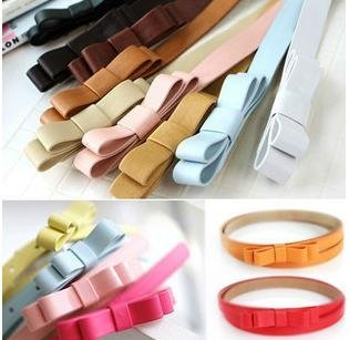 new beautiful Girl's butterfly tie leather belt Fashion Classic waist belt Sweet colorful leisurely belt