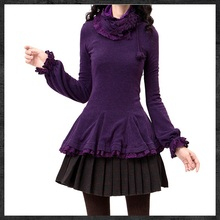 Free Shipping Yuzi Winter New Vintage&Retro Warm Patchwork Lace Crochet Knitting Cashmere Flare Pullover  Women  Sweater B9038(China (Mainland))