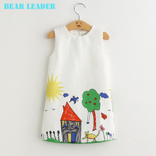 Bear Leader Girls Dresses 2017 Brand Autumn&Winter Princess Dress Kids Clothes Graffiti Print Design for Baby Girls Clothes 3-8Y(China (Mainland))