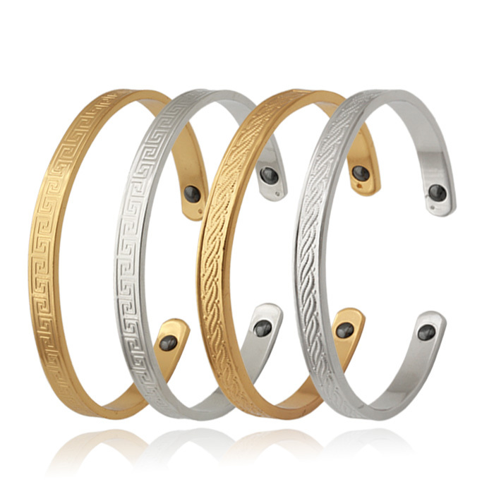 Trendy Men's 18K Gold Plated Magnetic Energy Bracelet Tourmaline Power Therapy Magnet Hygiene Bangle For Women MGC H5216(China (Mainland))
