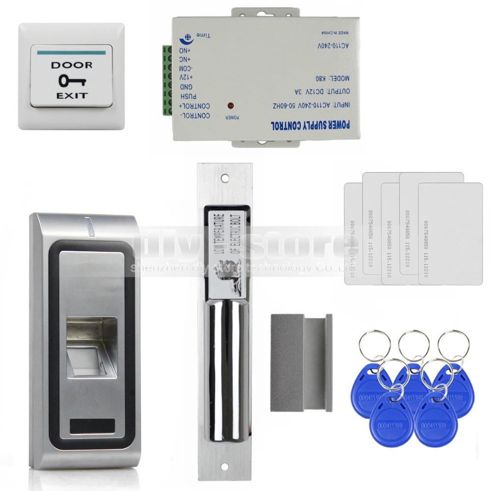 DIY Fingerprint 125KHz RFID ID Card Reader Door Access Control System Kit + Electric Bolt Lock(China (Mainland))