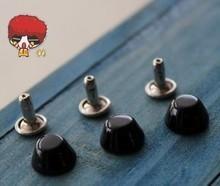 100sets/lot 10mm Black Rivet Alloy Stud Bucket Shaped Leathercrafts Punk Rock Spike DIY Art Deco Garment Rivets(China (Mainland))