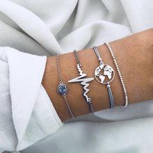 Czeski styl biżuteria bransoletka moda osobowość splot zroszony bicie serca bransoletka 4 sztuk/zestaw Fashion Party biżuteria prezent SP-69(China)
