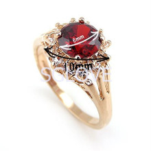 SGLOVE Latest Fashion 2015 18k Rose Gold Plated 4 Prongs Cherry Ruby Genuine Austrian Crystal Cluster