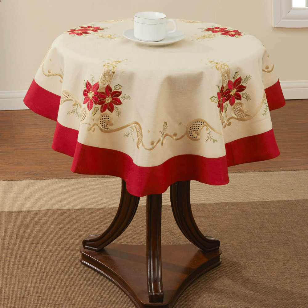 """Holiday Christmas Embroidery tablecloth 33X33"""" RD (85x85cm)(China (Mainland))"""