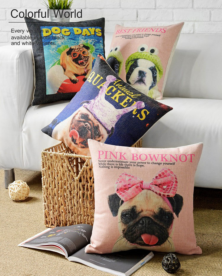 Dogs Day Pet Pug Dog Wearing Pink Bowknot Cushion Cover Linen Cotton Pillow Cover Decorative Sofa Custom Pillow Case(China (Mainland))