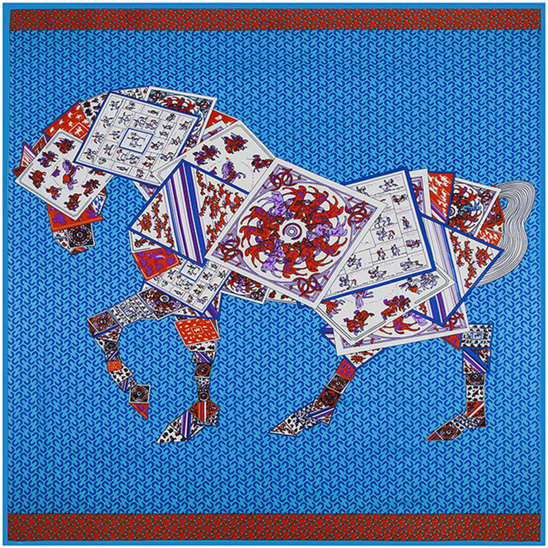 Horse Printed Silk Scarf Women Skull Scarf Euro Stree Square Scarves Abd Instant Shawls Burb Design Cape Muslim Hijab(China (Mainland))