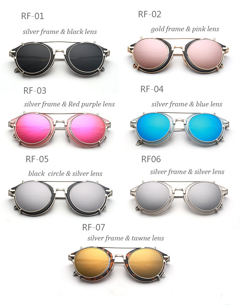 Sunglasses round Designer detachable steam punk