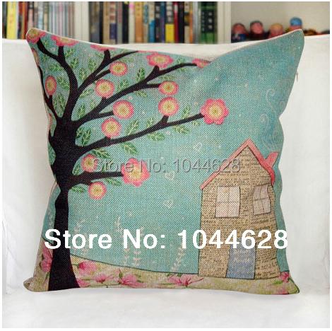 2pcs/lot high quality linen lift tress cartoon cushion cover/pillow case for sofa/couch/chair/car/home decor 45*45cm(China (Mainland))