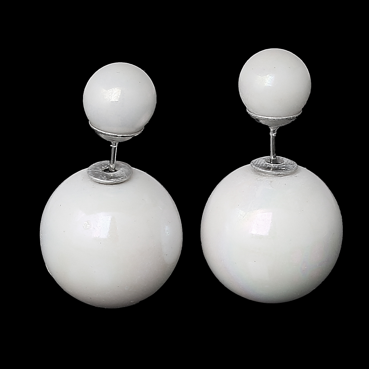 """New Fashion Lady Ear Studs Earrings post Round White AB Color Pearl Imitation 24mm(1"""")x16mm( 5/8""""),1 Pair 2015 new(China (Mainland))"""