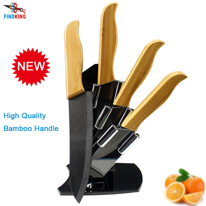 Findking brand high sharp quality bamboo handle with black for Gambar kitchen set high quality