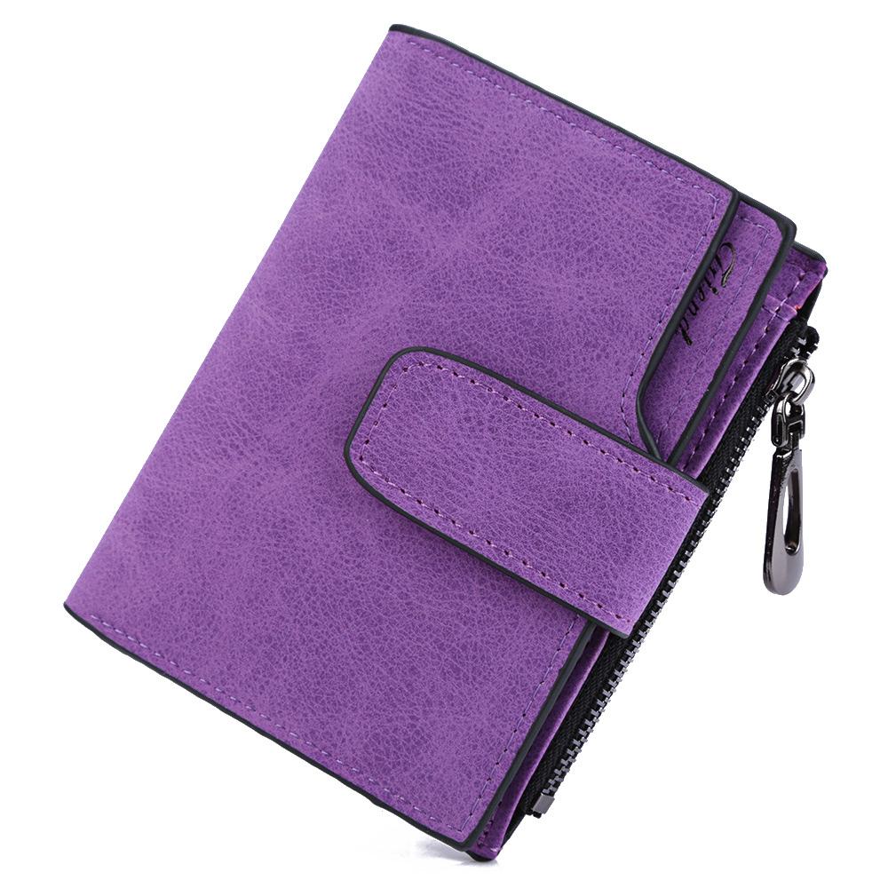 Lady Letter Snap Fastener Zipper Short Clutch Wallet Solid Vintage Matte Women Wallet Fashion Small Female Purse short purse(China (Mainland))