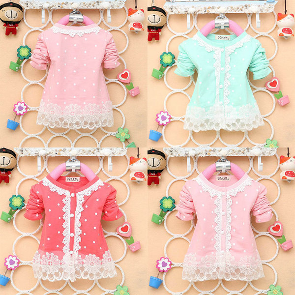 2015 New Autumn Fashion Baby Girls Nice Lace Cotton Long-Sleeved O-Neck Coat Dot Cardigan<br><br>Aliexpress