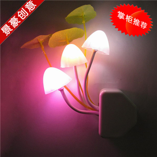Led photoswitchable induction mushroom night light plug in led wall lamp baby small table lamp