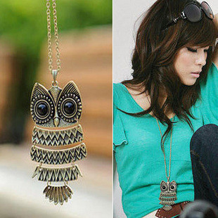 (Min order is $10) E4196 queer accessories fashion accessories vintage owl long necklace