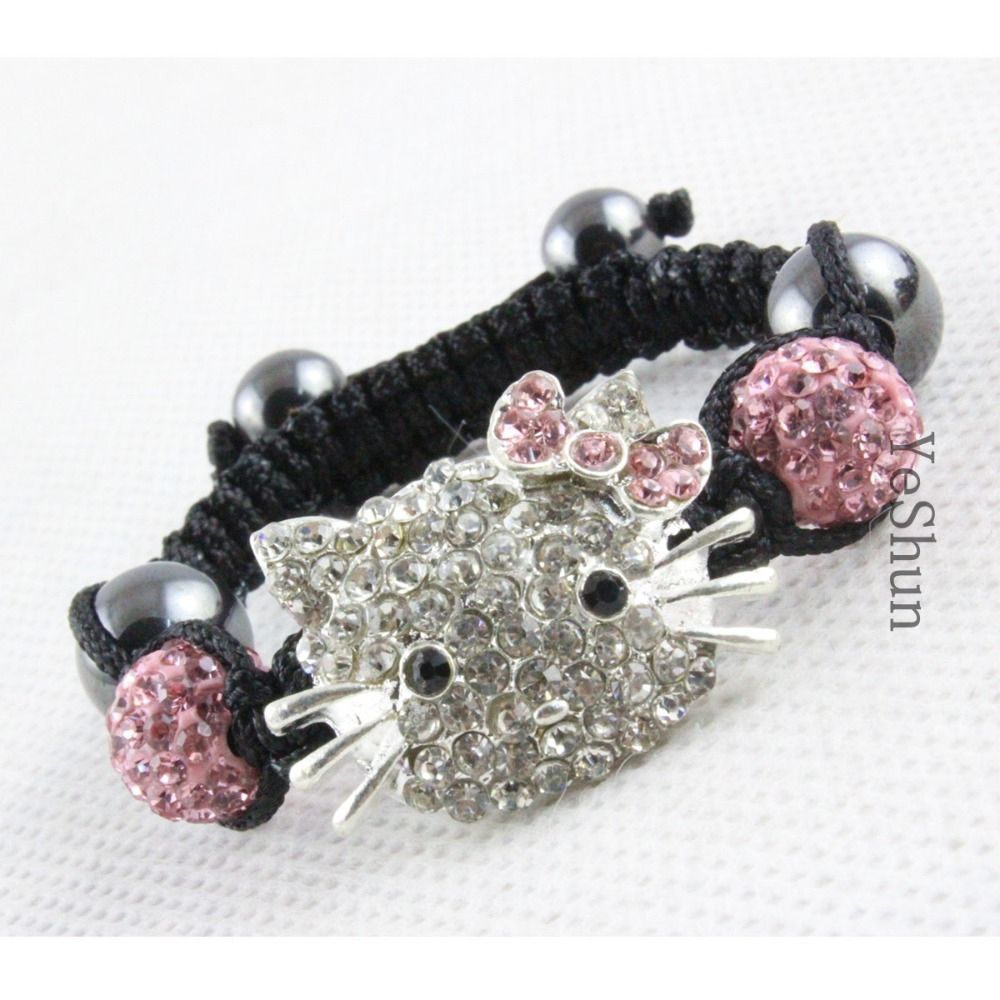 ( 3 pieces/lot ) High Quality Fashion Children Jewelry Wholesale,Shamballa Kids Hello Kitty Bracelets For Christmas Gift(China (Mainland))