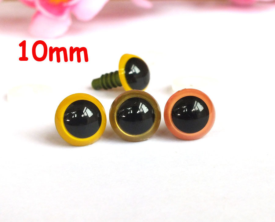 Free Shipping!!30 pairs 10 mm mix color Plastic Safety eyes for Amigurumi-10 pair for each color