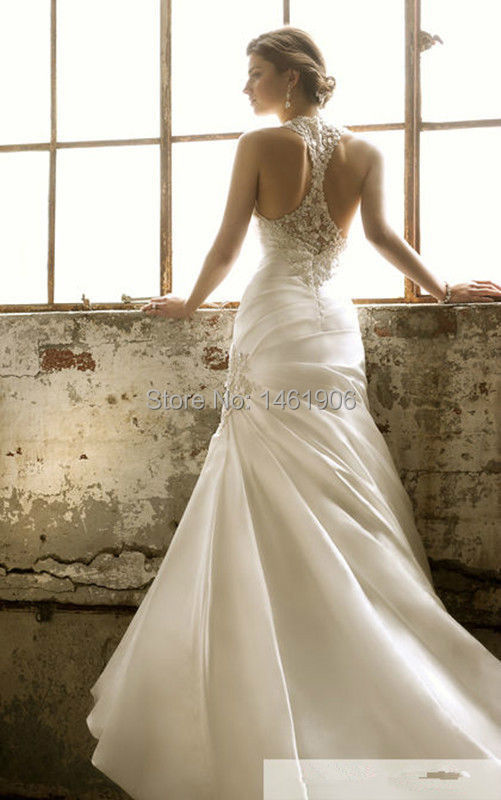 Ry0077 2015 new style lvory white sexy halter backless for Mermaid halter wedding dresses
