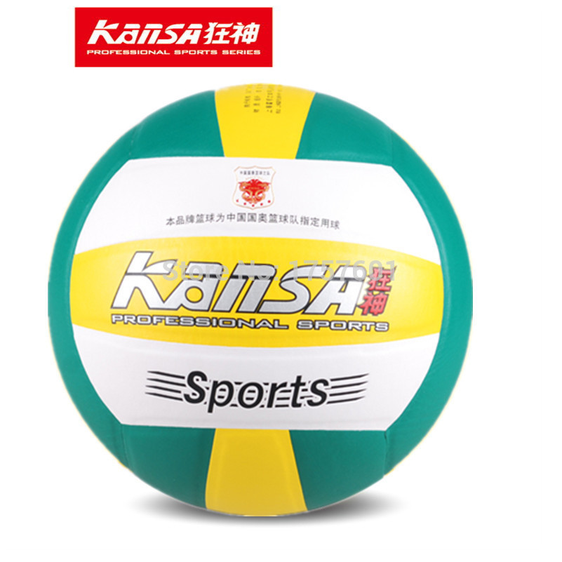 Top Quality genuine size5 KANSA soft foam balls Seamless leather outdoor and indoor training match competition volleyball ball(China (Mainland))