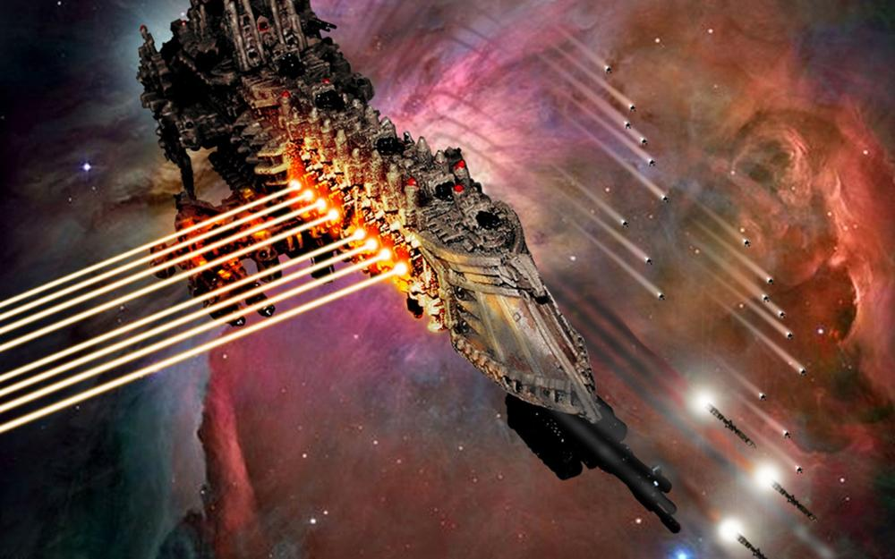 <font><b>Gothic</b></font> Space Battle Warhammer 40k spaceship laser weapons missile 4-Size <font><b>Home</b></font> <font><b>Decoration</b></font> Canvas Poster Print
