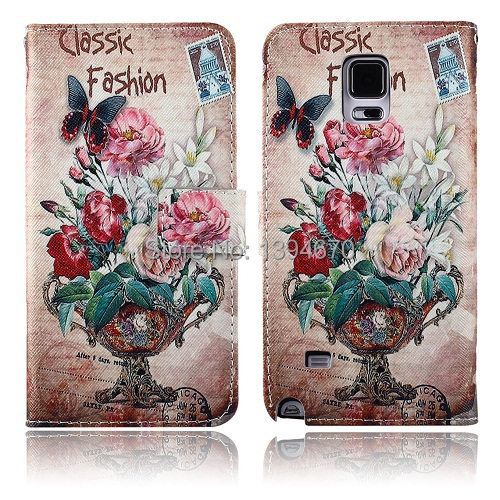 100 PCS Retro Wallet Leather phone Case Cover For samsung galaxy note 4 IV N910 Card Holder wallet Vintage Stand & tracking DHL(China (Mainland))