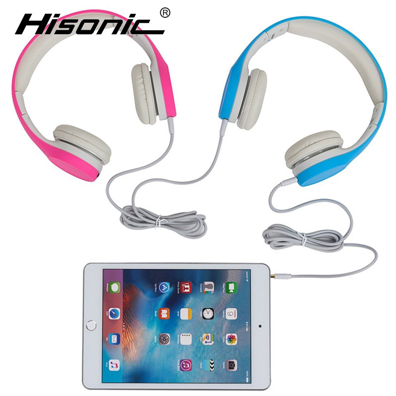 Hisonic Children Headphone Foldable Child Earphone Headset Wire Control Wired Phone boy girl headset with Microphone kid headset(China (Mainland))