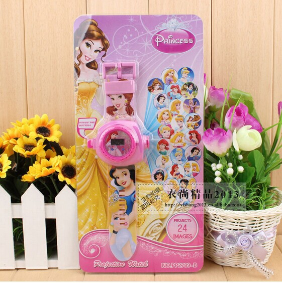 5Pcs Princess Projection Watches Party Supplies - Different 24 images Children's birthday, Christmas festival best gift(China (Mainland))