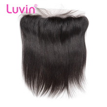 Luvin Peruvian Hair Lace Frontal Closure Straight Ear To Ear 13x4 Bleached Knot With Baby Hair 100% Remy Human Hair Lace Frontal(China (Mainland))