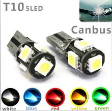 Wholesale Canbus T10 5smd 5050 LED car led Light Canbus W5W 194 5050 SMD Error Free White Light Bulbs