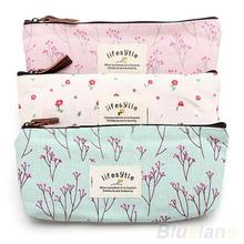 Hot Sale New Flower Floral Pencil Pen Canvas Case Cosmetic Makeup Tool Bag Storage Pouch Purse 1F3U(China (Mainland))
