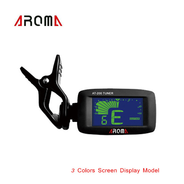 Aroma AT-200D Clip-on Electric Guitar Tuner Three Color Screen Digital Tuner for Guitar Chromatic Bass Ukulele Universal(China (Mainland))