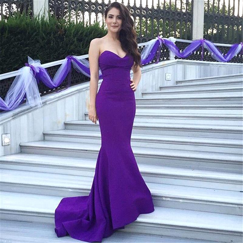 Элегантный фиолетовый без бретелек русалка длиной до пола платье с поездом