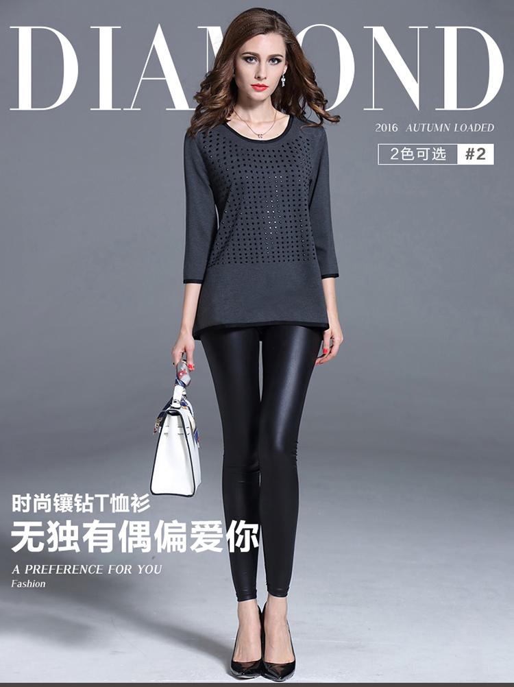 Women Diamond Black T-shirt Camisetas Mujer 2016 Autumn Large Size Shirt Women Tops Blusas Y Camisas Mujer Blusa Feminino 71960