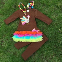Wholesale children fall boutique outfits thanksgiving outfits turkey outfits Girl Boutique clothes with necklace and bow(China (Mainland))