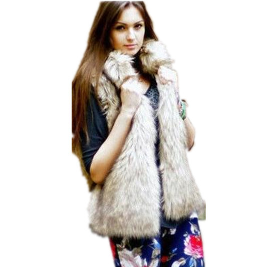 2015 Fall Winter New Fashion Ladies Female Waistcoat Snow Mountain Fly Fox Color Women Stand Collar False Fur Regular Vests YR41(China (Mainland))