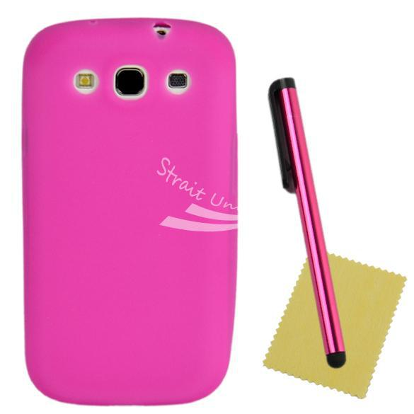 Pink Soft Silicon Shell Cover Case + Clear Protector Touch Pen Samsung Galaxy S III I9300 - Zoe store