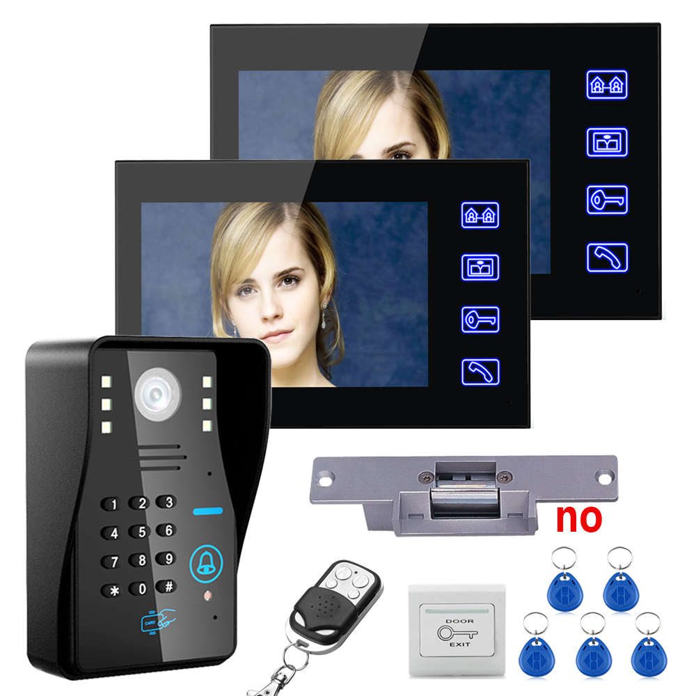 "Touch Key 7""TFT 2 Monitors RFID Password Video Door Phone Intercom System Kit+ Electric Strike Lock+ Wireless Remote Control unl(China (Mainland))"