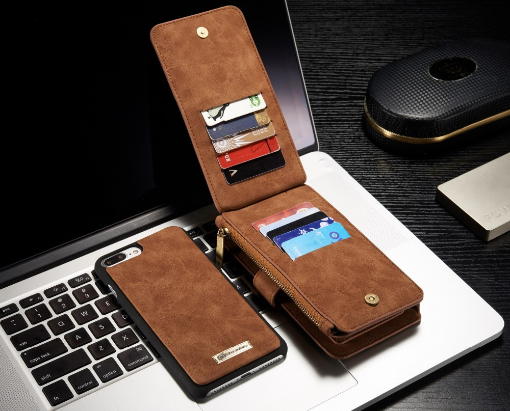 CASEME Luxury Genuine Leather Case For Samsung Galaxy Note5 Note 7 Magnet Back Cover Leather Wallet Case For Iphone 7Plus 7 Case