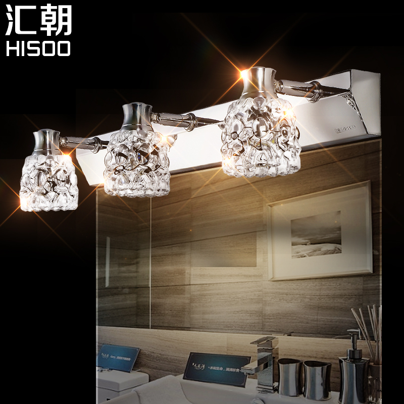 Fashion mirror light led brief modern mirror glass bathroom wall lamp crystal stainless steel mirror cabinet lamp(China (Mainland))