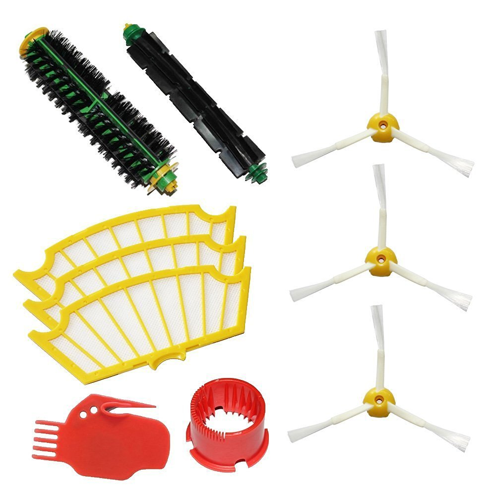 Bristle Brush & Flexible Beater Brush & Side Brush 3-Armed & Filters & 2 Cleaning Tools Pack Kit for iRobot Roomba 500 Series(China (Mainland))