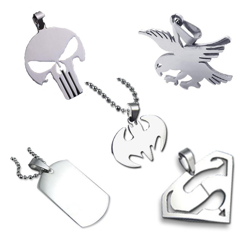 Hot Sale 316 stainless steel pendant SUPER HERO SKULL dog tag batman owl pendant necklace with free chain(China (Mainland))