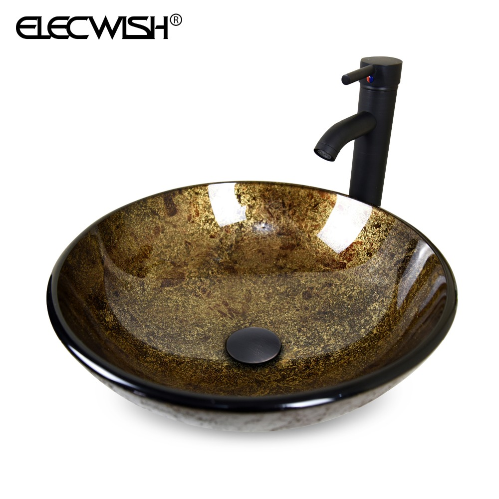 Bathroom Modern Round Artistic Tempered Glass Vessel Sink Counter Top with Oil Rubbed Bronze Faucet &amp; Pop-up Drain Combo A20062<br><br>Aliexpress