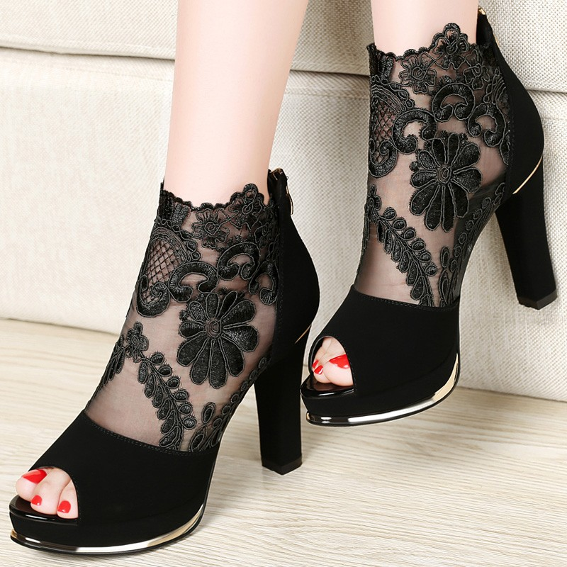 Shoes Woman 2016 Spring/Summer Fashion Women Pumps Peep Toe Platform Women High Heels Air Mesh Women Shoes 1028-46
