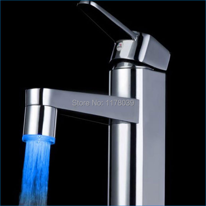 LED temperature control faucet,LED color faucet,led mixer light,Single adapter silver and white ribbon,Free Shipping J14190(China (Mainland))