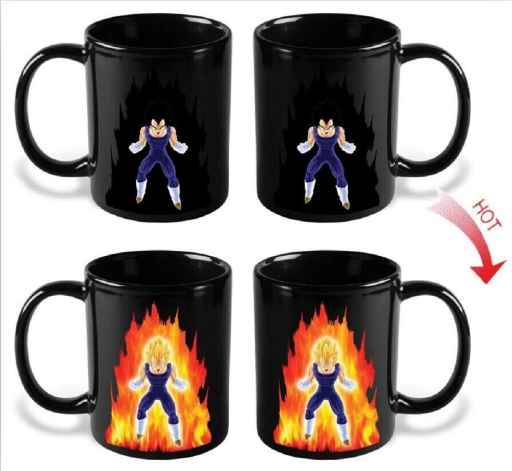 Dragon Ball Z Vegeta Mug Heat Sensitive Color Changing Gift Mugs Coffee Cup Ceramic Mug Temperature Sensing Birthday(China (Mainland))