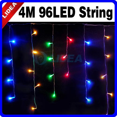 New 2014 Hot 4M 110V/220V 96 LED Colorful Icicle Christmas XMAS Christmas Holiday Outdoor Curtain of Lights HK C-14(China (Mainland))