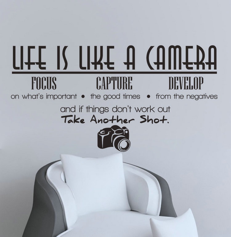 Household Stickers Life Is Like A Camera Creative Sticker For Living Room Bedroom Wall Stickers Decorative Wallstickers(China (Mainland))