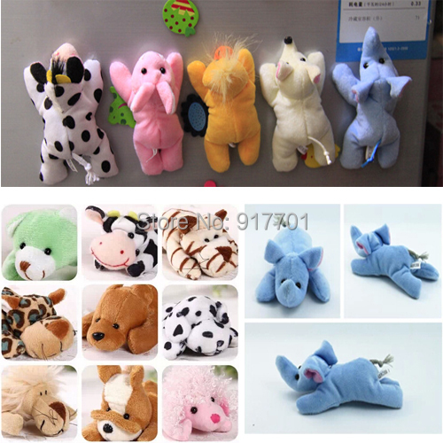 12 Styles Size 10-12CM Cartoon Animal Home Accessories Plush Fridge Magnets Stickers Kids 12 Pcs/lot  Refrigerator Magnet(China (Mainland))