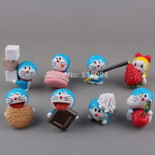Anime Cartoon Doraemon with Cookies PVC Figure Model Toys Dolls 8pcs/set New in Retail Box DRFG030